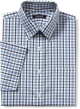 Lands' End Lands'end Men's Traditional Fit Short Sleeve Pattern No Iron Supima Pinpoint Dress Shirt