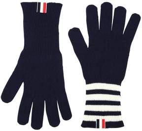 Thom Browne Cashmere Knit Gloves W/ Stripes