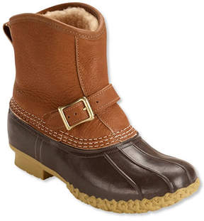 L.L. Bean Women's Tumbled-Leather L.L.Bean Boots, 7 Shearling-Lined Lounger