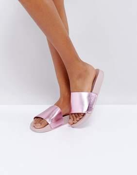 Glamorous Pink Metallic Slide Sandals