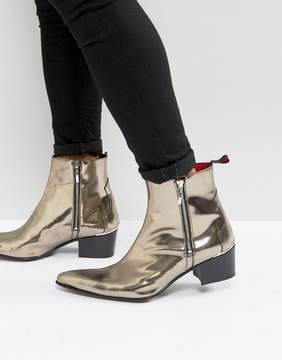 Jeffery West Sylvia Zip Boots In Metallic Pewter