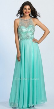 Dave and Johnny Chiffon Sheer Back Embellished Prom Dress