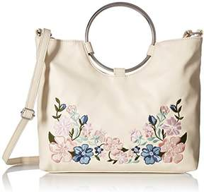 T-Shirt & Jeans Ring Handle Satchel with Floral Embroidery