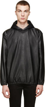 Paul Smith Black Leather Side-Zip Hoodie