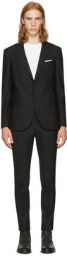 Neil Barrett Black Gabardine Skinny Suit