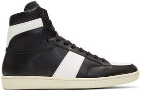 Saint Laurent Black and White SL/10 Court Classic High-Top Sneakers