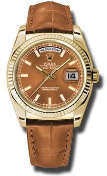 Rolex Day Date Cognac Dial 18K Yellow Gold Leather Men's Watch