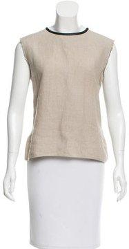 Celine Leather-Trimmed Linen Top