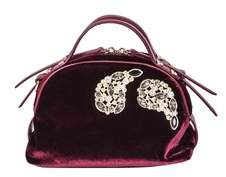 Borbonese Women's Purple Velvet Handbag.