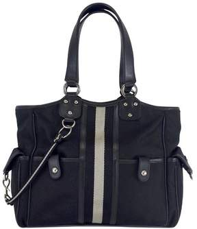 Bally Black & Grey Striped Canvas Shoulder Bag