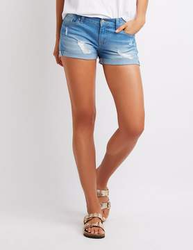 Charlotte Russe Destroyed Cuffed Push-Up Denim Shorts