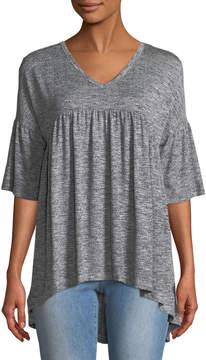 Chelsea & Theodore Heathered V-Neck Tunic Sweater