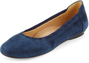 Neiman Marcus Seyna Scalloped Suede Flat, Navy