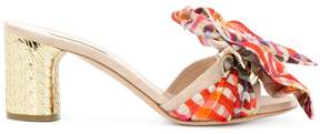 Casadei checked bow detail mules