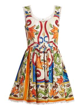 Dolce & Gabbana Majolica-print scoop-neck cotton-poplin dress