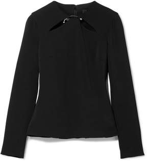 Cushnie et Ochs Violetta Cutout Embellished Stretch-crepe Top - Black