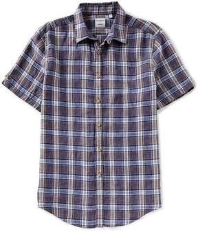 Murano Plaid Linen Short-Sleeve Woven Shirt