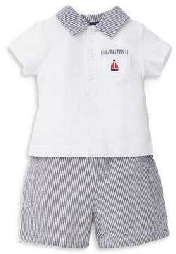 Little Me Baby Boy's Sailboat Two-Piece Cotton Top and Stripe Shorts Set
