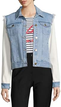 Each X Other Women's Mixed Media Graphic Cotton Trucker Jacket