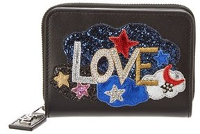 Saint Laurent Love Patch Leather Zip Around Wallet. - BLACK - STYLE