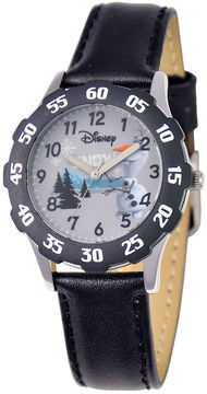 Disney Frozen Olaf Kids Time Teacher Black Leather Strap Watch