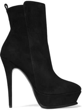 Saint Laurent Tribute Suede Platform Ankle Boots - Black
