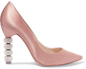 Sophia Webster Coco Crystal-embellished Satin Pumps - Antique rose