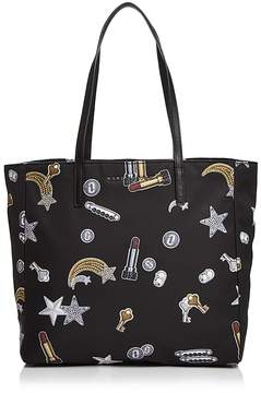 Marc Jacobs Tossed Charms Printed Nylon Tote - BLACK MULTI/GUNMETAL - STYLE