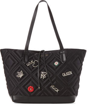 Patrizia Pepe Flower & Crystal Embellished Black Satin Bag