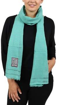Moschino Scr11242/2 Green/white Checkered Scarf.