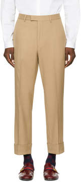 Gucci Tan Rolled Cuff Trousers