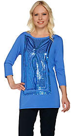 Bob Mackie Bob Mackie's Sequin Butterfly Front Knit Top