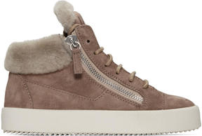 Giuseppe Zanotti Beige Suede London High-Top Sneakers