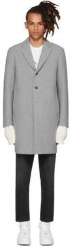 MSGM Grey Neoprene Wool Coat