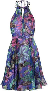 Matthew Williamson Kantuta Valley Printed Silk-chiffon Halterneck Mini Dress - Indigo