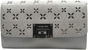 Michael Kors Pearl Gray Tina Leather Clutch - PEARL - STYLE