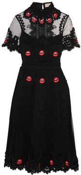 Temperley London Leaf Appliquéd Tulle Dress - Black