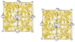 FANTASIA Four Asscher-Cut Canary CZ Crystal Stud Earrings