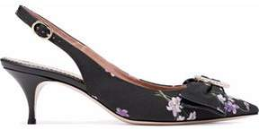 RED Valentino Bow-Embellished Floral-Print Canvas Slingback Pumps
