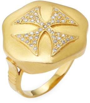 Artisan Women's Diamond Cross 14K Gold Ring