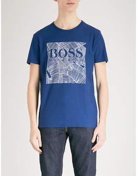 BOSS ORANGE Leaf-print cotton-jersey T-shirt