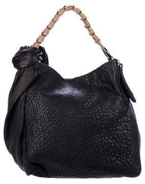 Halston Knot-Accented Leather Handle Bag