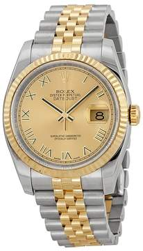Rolex Oyster Perpetual Datejust 36 Champagne Dial Stainless Steel and 18K Yellow Gold Jubilee Bracelet Automatic Men's Watch 116233CRJ