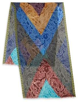 Etro Multicolor Frayed Cashmere Scarf