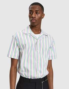 Cmmn Swdn Dusty Open Collar Shirt in Pastel Stripe