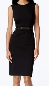 Calvin Klein Women's Sleeveless Chain Trim Sheath Ponte Dress