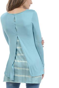 Celeste Light Blue Tie-Dye Stripe Split-Back Tunic - Women