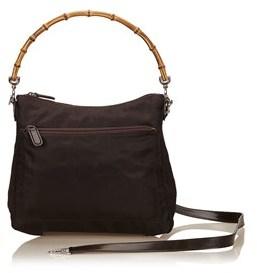 Gucci Pre-owned: Nylon Bamboo Handbag. - BROWN X DARK BROWN - STYLE