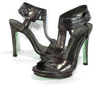 Nicole Miller Distressed Pewter Leather Heels