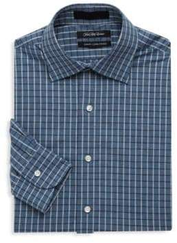 Saks Fifth Avenue BLACK Checkered Slim-Fit Cotton Dress Shirt